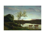 A Pond with Three Cows and a Crescent Moon  C1850