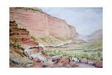 Mormon Wagon Train Passing Though Echo Canyon  East of Salt Lake City  Utah