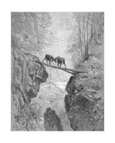 The Two Goats  from 'The Fables' of La Fontaine  Engraved by A Ligny  C1868