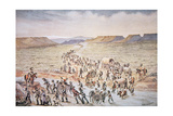 Mormon Handcart Pioneers Heading West to Utah in 1850
