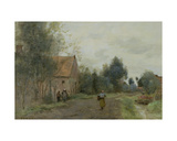 Sin Near Douai  Village Street in the Morning  Grey Weather  1872