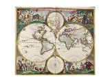 World Map (Nova Orbis Tabula) from 'Nicolass Visscher Atlas Minor' C1719