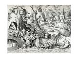 Gluttony  from the Seven Deadly Sins  Engraved by Pieter Van Der Heyden (C1530-72) 1558