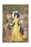 Lady Rowe  Standing Small Full Length on a Terrace  a Moonlit Jamaican Landscape Beyond