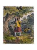 Indian Women Procuring Fuel  1853