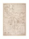 Map of Cambridge  from Caius 'Historia Cantabrigensis Academia'  1574