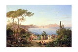 Bay of Naples with Dancing Italians  C1850