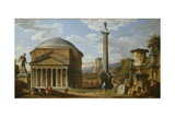 Capriccio of Roman Ruins with the Pantheon  1737
