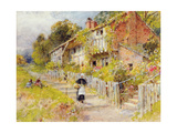 Cottages - a Row of Cottages with a Figure and Other Children Playing