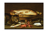 A Still Life with Carp in a Ceramic Colander  Oysters  Crayfish  Roach and a Cat on the Ledge…