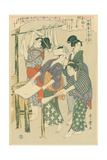 Stretching the Silk Floss  No10 from 'Joshoku Kaiko Tewaza-Gusa'  C1800