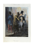 'Nothing There'  Caricature Depicting a Pickpocket Robbing a Student's Pocket C1840