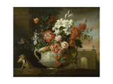 Still Life with Flowers in an Urn  with a Monkey  on a Ledge  C1699