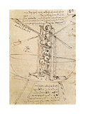 Vertically Standing Bird's-Winged Flying Machine  Fol 80R from Paris Manuscript B  1488-90