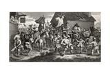Hudibras Encounters the Skimmington  Engraved by TE Nicholson  from 'Hudibras'  by Samuel…