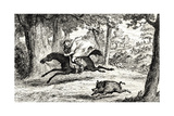 Cardinal Balue Chasing a Boar  Illustration from 'Quentin Durward' by Sir Walter Scott…