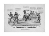 An Impending Catastrophe  Published by Currier and Ives  New York  1868