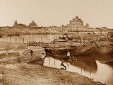 Bridge of Boats over the Gumti River  Near the Chattar Manzil and Fusseed Bakah or Old Palace