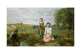 Children Beside a Brook in the Countryside  Lormes