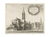 Salisbury Cathedral  Illustration for 'Monasticon Anglicanum' by William Dugdale  1672