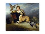 Richard Cavendish with 'spot'  the 6th Duke of Devonshire's Italian Greyhound  C1828