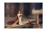 Aspirant Knight Keeping Vigil of Arms for Entry into Knighthood  Illustration from 'Romance and…