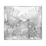 Battle Scene Showing Landsknechte (Mercenaries) Bearing Two-Handed Swords  Halberds and Lances …