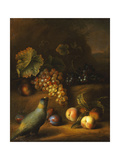 A Parrot with Grapes  Peaches and Plums in a Landscape