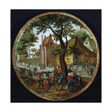 Peasants Dancing around a Tree in a Village Street  1625
