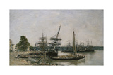 Boat Moorings on the Garonne  Bordeaux  1876