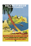 Poster Advertising 'Hamburg-Amerika Linie' Routes to the West Indies and Central America