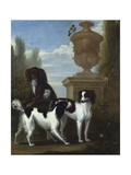 Three Spaniels by an Urn in a Wooded Landscape