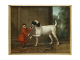 A Monkey Wearing Crimson Livery Dancing with a Poodle on the Terrace of a Country House