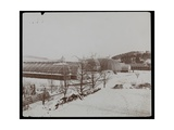 The Greenhouses in the Snow at the Helen Gould Estate (Late Jay Gould Residence) at Tarrytown …