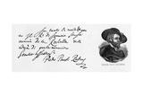 Handwriting and Signature of Rubens from a Letter in Italian on the Defeat of the English Navy at…