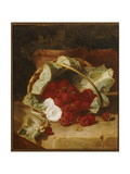 Raspberries in a Cabbage Leaf Lined Basket with White Convulvulus on a Stone Ledge  1880