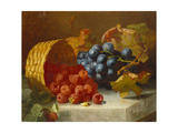 Still Life with Raspberries and a Bunch of Grapes on a Marble Ledge  1882