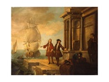 Europe - European Merchants with Stevedores Handling a Barrel and a Bale on a Quay  1724