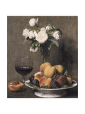 Still Life with Roses  Fruit and a Glass of Wine  1872