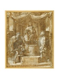 The Virgin and Child Enthroned under a Canopy  with Sts Roch and Sebastian