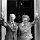 Prime Minister Margaret Thatcher and Her Husband  Denis  on the Doorstep of No10 Downing Street …