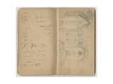 Handwritten Page and Chateau Le Mesnil at Juziers  from a Sketchbook  Mezy  1890