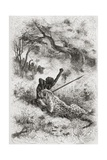 A Leopard Attacking an African  Illustration from 'The World in the Hands'  Engraved by Henri…