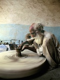 Old Man Working on a Potter's Wheel  Thatta  Pakistan