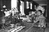 Traditional Welcome Ceremony in a Dayak Iban Longhouse  Rejang River Basin  Sarawak  Malaysia