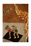 Decoration on an Ox Cart Depicting Muay Thai