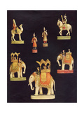 Pieces from an Ivory Chess Set Made in Delhi for Begum Samru in C1790