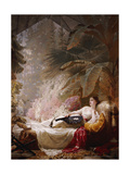 Portrait of Adelaide Maria Guinness  Reclining on a Sofa in a Conservatory  1885