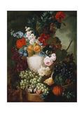 Roses  Poppies and Other Flowers in a Sculpted Vase with Fruit  a Mouse and a Bird's Nest on a…