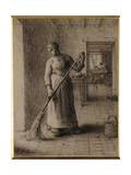 Woman Sweeping Her Home